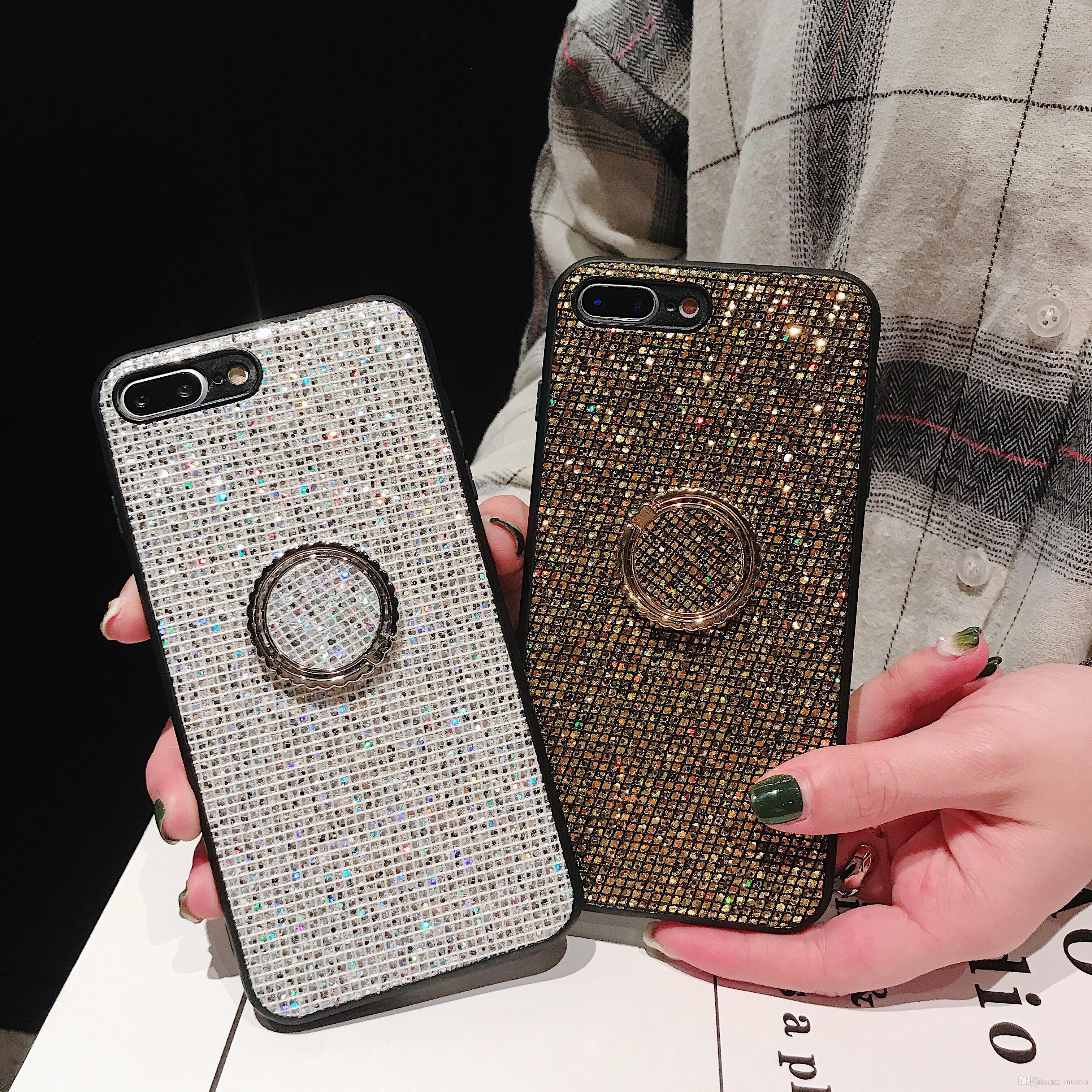 삼성 Galaxy S8 Plus S9 커버 용 반짝이는 전화 케이스 삼성 Note 9 용 S9 Plus Luxury Shining Back with holder