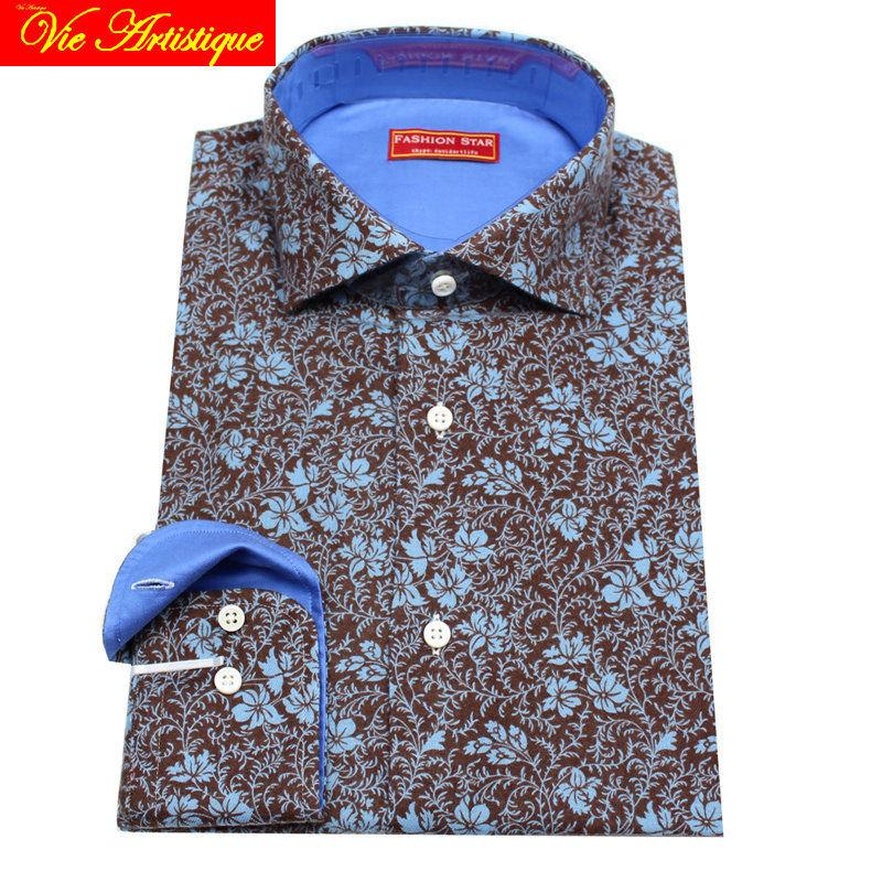 custom tailor made Men's bespoke floral cotton shirts business formal wedding ware bespoke dress blouse blue coffee retro flower
