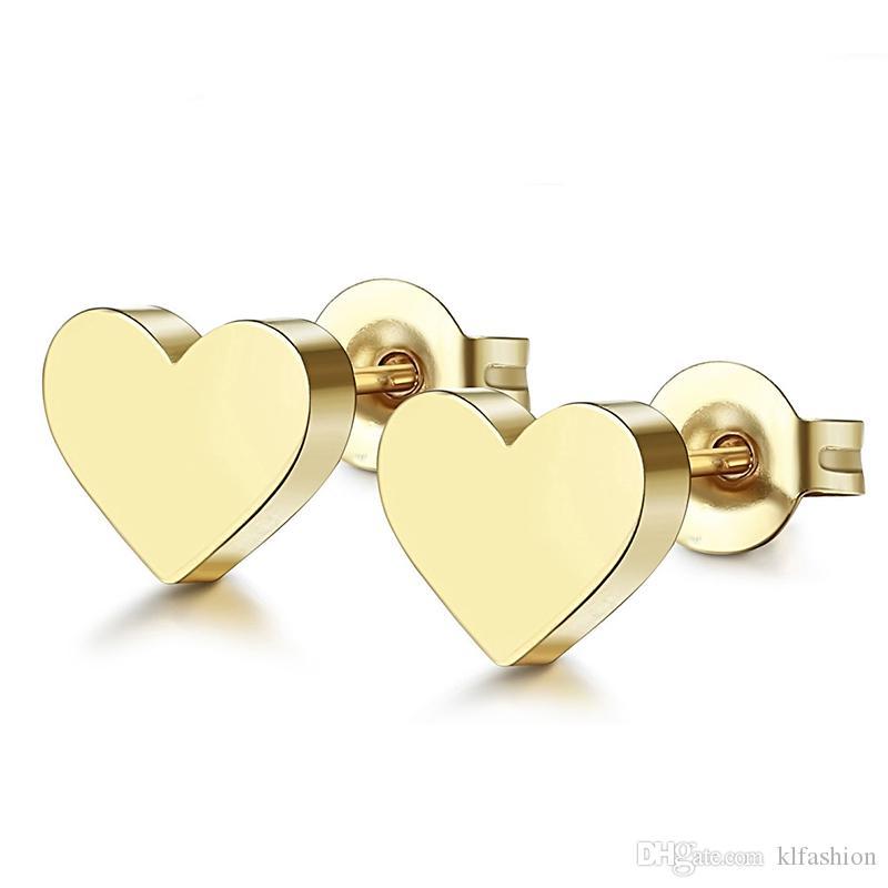 Nuevo encantador personalizado de acero inoxidable pendiente geométrico triángulo estrella redondo stud pendientes para mujeres chapado en oro lindo pendiente minúsculo