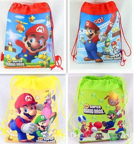 Wholesale lot Super mario child Draw String PE School Bag Kids Boy Girls Rucksack Swimming Kit S003