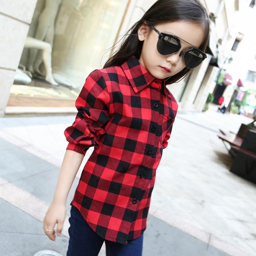 Famli Kız Okul Ekose Bluz İlkbahar Sonbahar Unisex Çocuk Moda Pamuk Uzun Kollu Bluzlar Çocuk Boy Kırmızı Tee Gömlek T200229