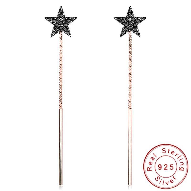 Corea Elegante 925 Pendientes de Plata Estrella Cuelga Negro Micro Pave CZ Pendientes Joyería de Cadena Minimalista de Oro Rosa Borla CZSE128