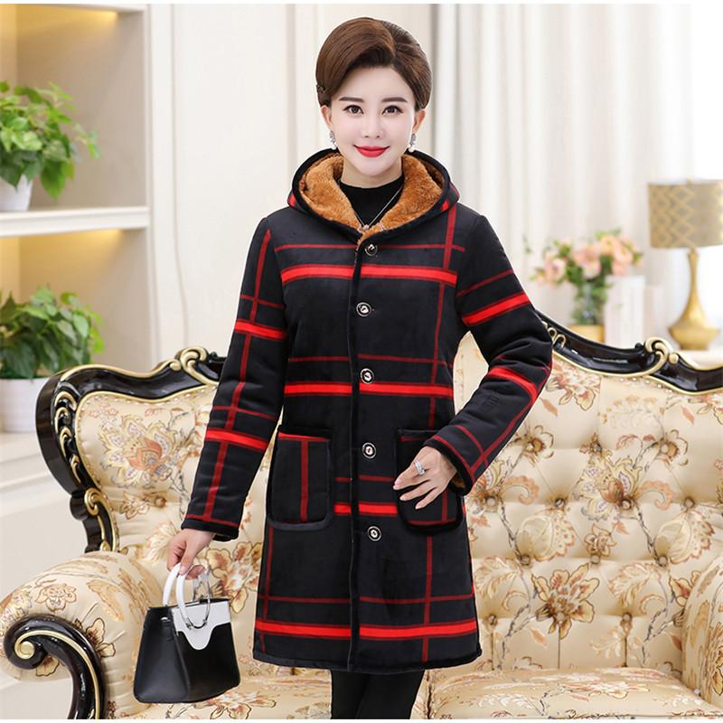 Middle-Aged Women Plus Velvet Padded Cotton Jacket Winter Medium Long Coat 2019 New Large Size Single-Breasted Outerwear JIU127
