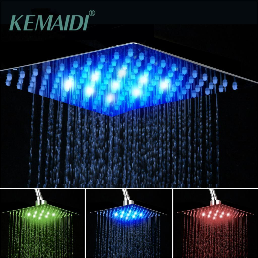"""KEMAIDI de bain douche tête LED en laiton chromé Carré pluie Pomme de douche Haut-dessus de douche Pulvérisateur Pour 8"""" / 10"""" / 12"""" / 16"""" / 20"""" / 24"""" Y200109"""