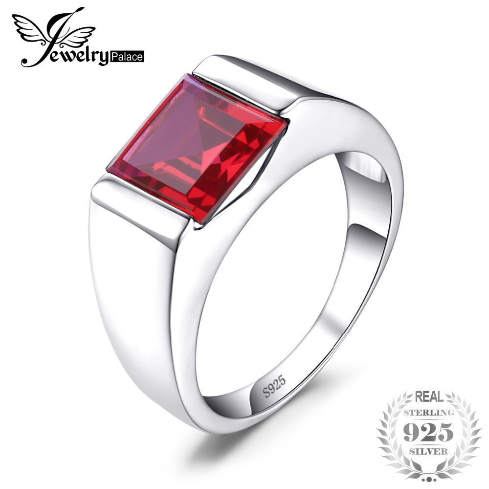 Jewelrypalace anillo para hombre / niño Pigeon Blood Ruby 3.4ct Classics Vintage Stone 925 anillos de plata esterlina accesorios joyería J190611