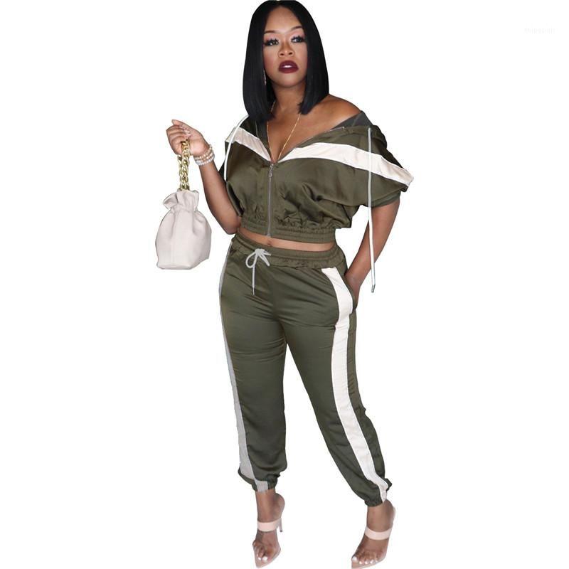 I vestiti casuali con cappuccio mezza manica Top pantaloni lunghi Abbigliamento Donna progettista delle donne con pannelli tute sportive Natural Color