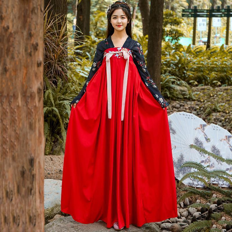 Китайский традиционный танец костюм для женщин Hanfu фестиваль наряд Восточная народно-сценический производительность одежда Фея платье DF1003