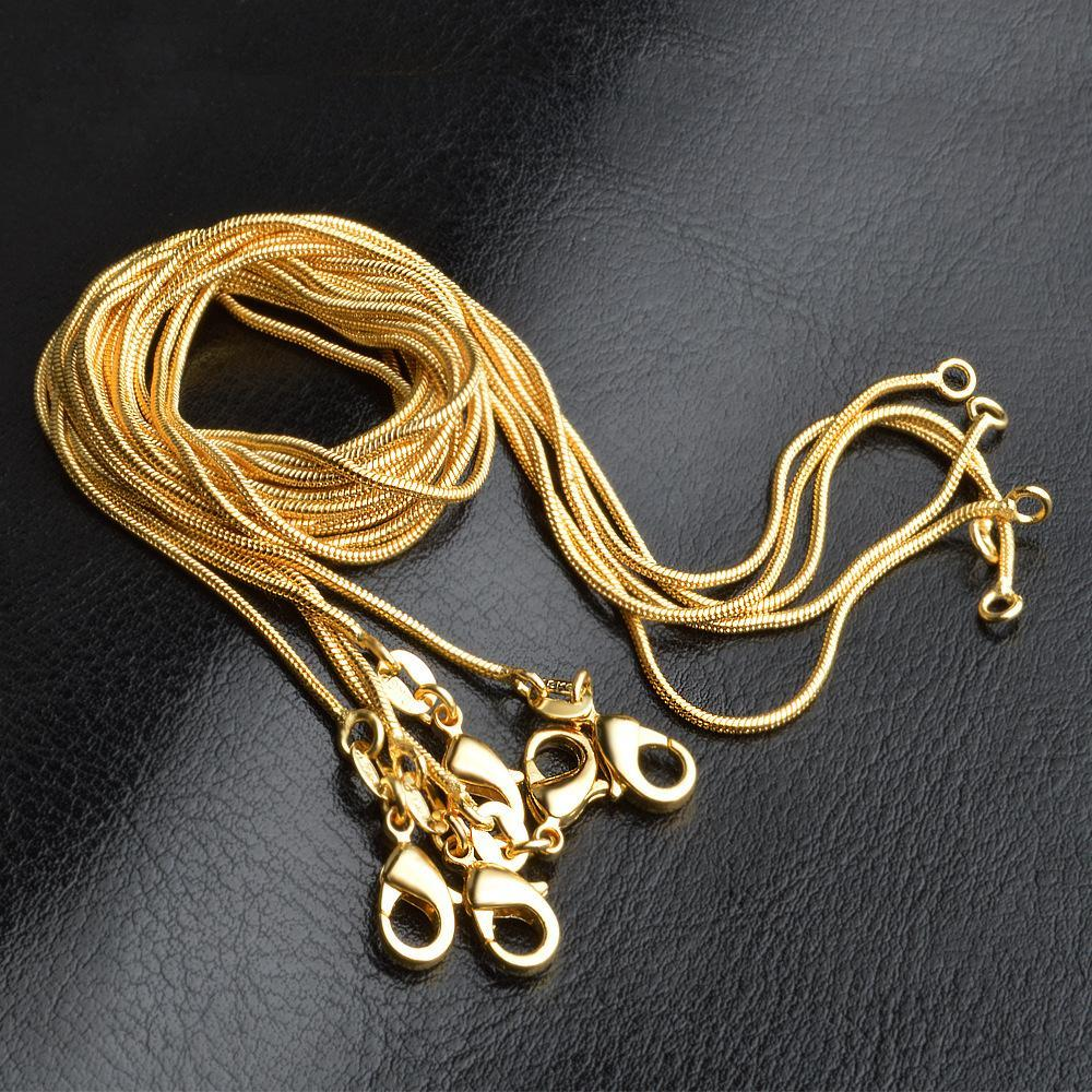Top Quality Factory Price 1mm 18K Gold Plated Snake Chain Necklaces Jewelry 16in 18in 20in 22in 24in 26in 28in 30in