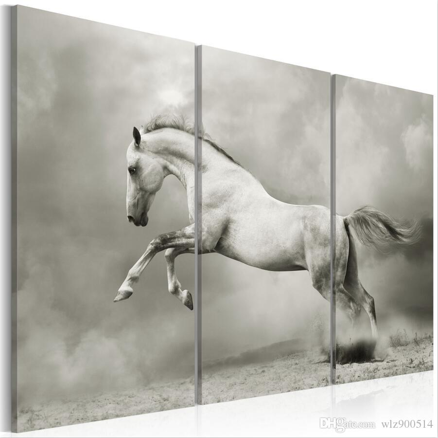 White Stallion Jumping Horse Animal Picture Poster Art Framed Abstract Print