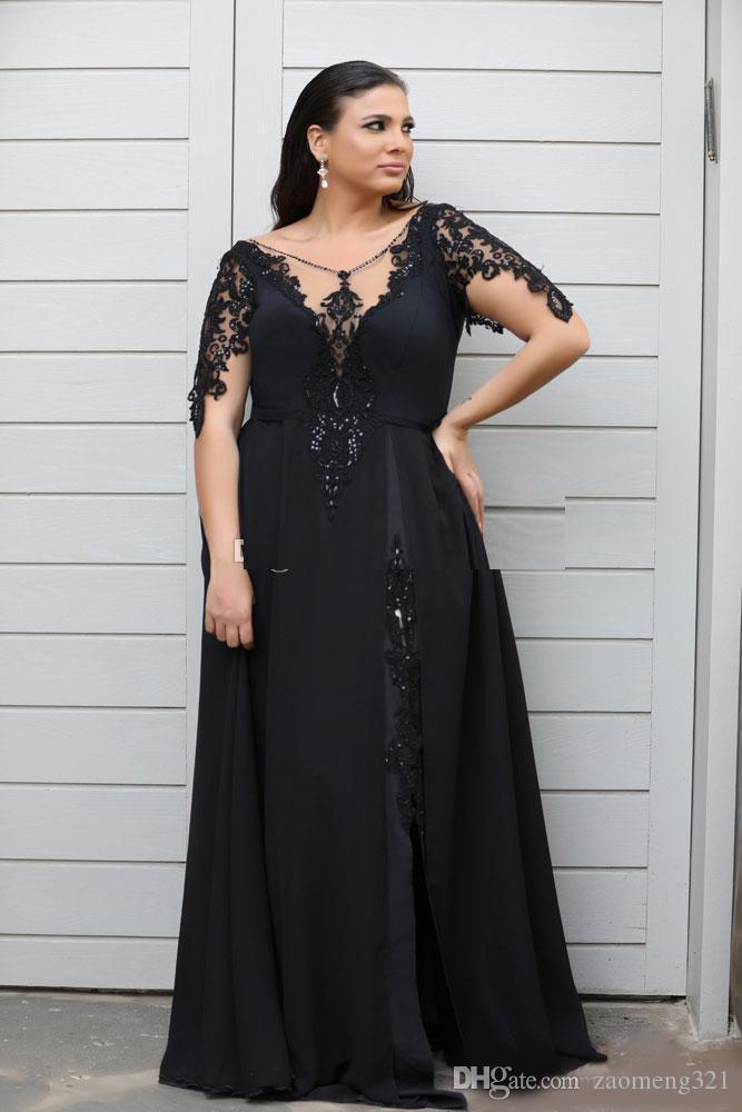 Sexy Black High slit Evening Mother of the Bride Dresses Plus size длинные платья с рукавами кружева блестки шифон вечерние платья для выпускного вечера