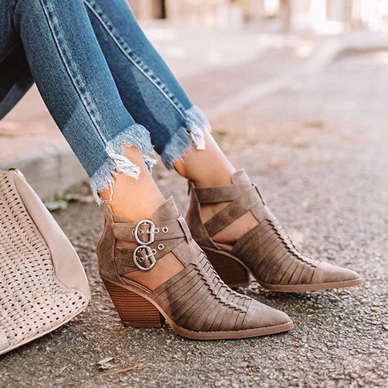 Heflashor Frauen Ankle Boots Spitzschuh PU-Leder-Low Absatz-Schuhe Frau Booties Sexy High Heels Frau Botas Mujer Femme
