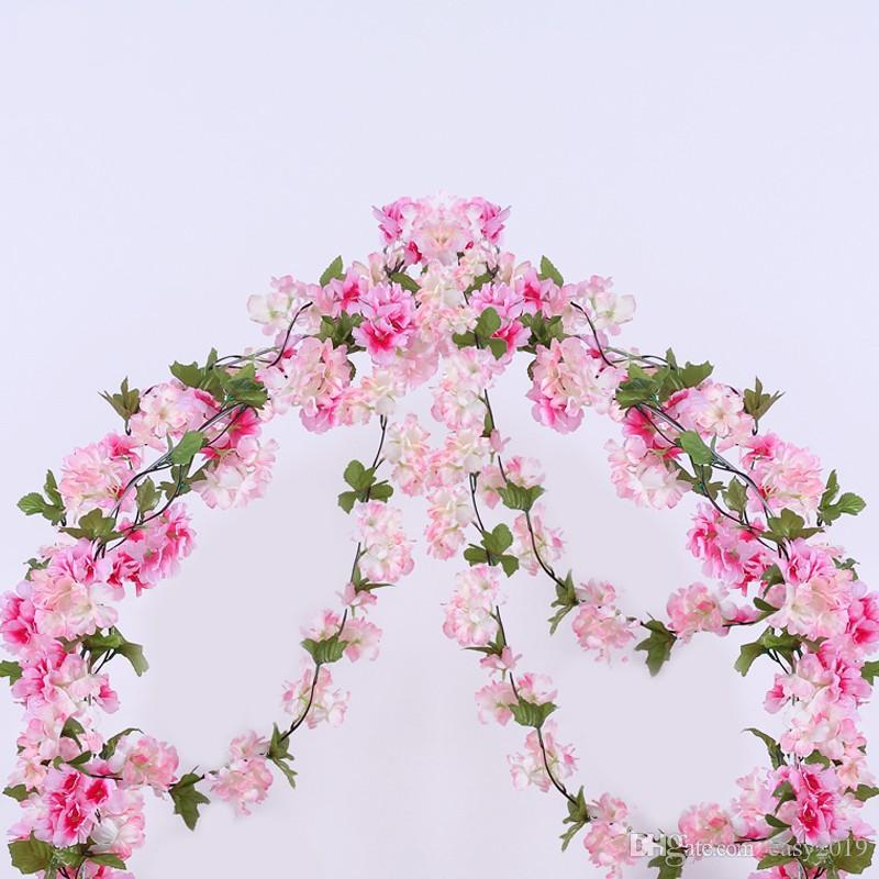 Luyue 233cm Artificial Cherry Blossoms Flower Vines party supplies Garland Silk Fake Cherry Flower Rattan Wedding home Decor