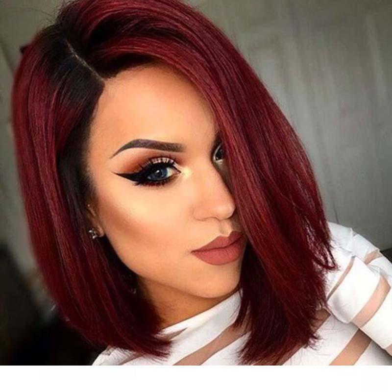 A 1b Burgundy Ombre Human Hair Wigss For Black Women Short Bob Cut Glueless Virgin Unprocessed Brazilian Hair Wine Red Short Wigs Cheap