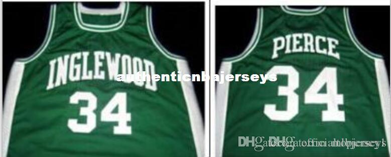 Paul Pierce # 34 Jersey New verde, nero, bianco, tutti i nome e numero di ricamo sono cuciti pullover ricamo di alta qualità