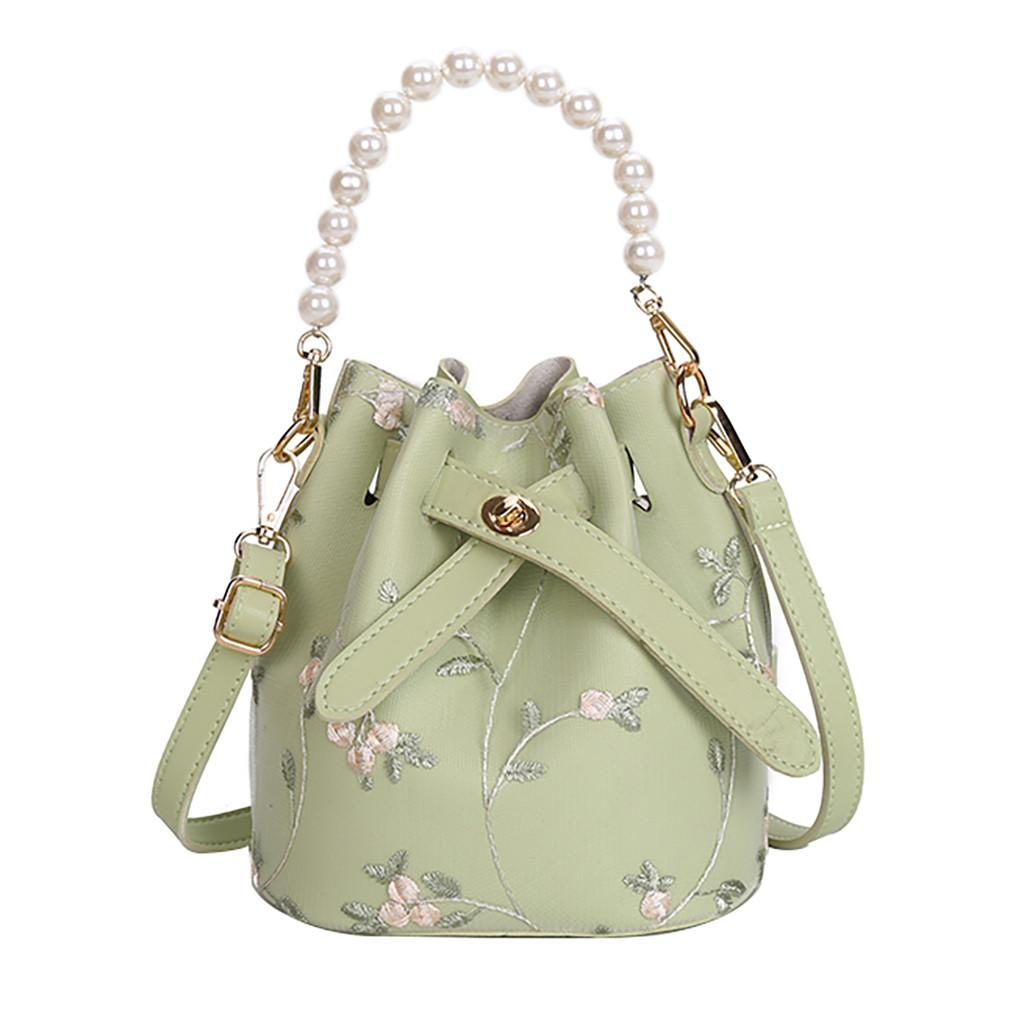 2ST böhmische Art-Damen Stickerei-Blumen-Sommer-Crossbody Beutel Frauen Perle Leder Strahl-Port Kette Messenger Beach Bag
