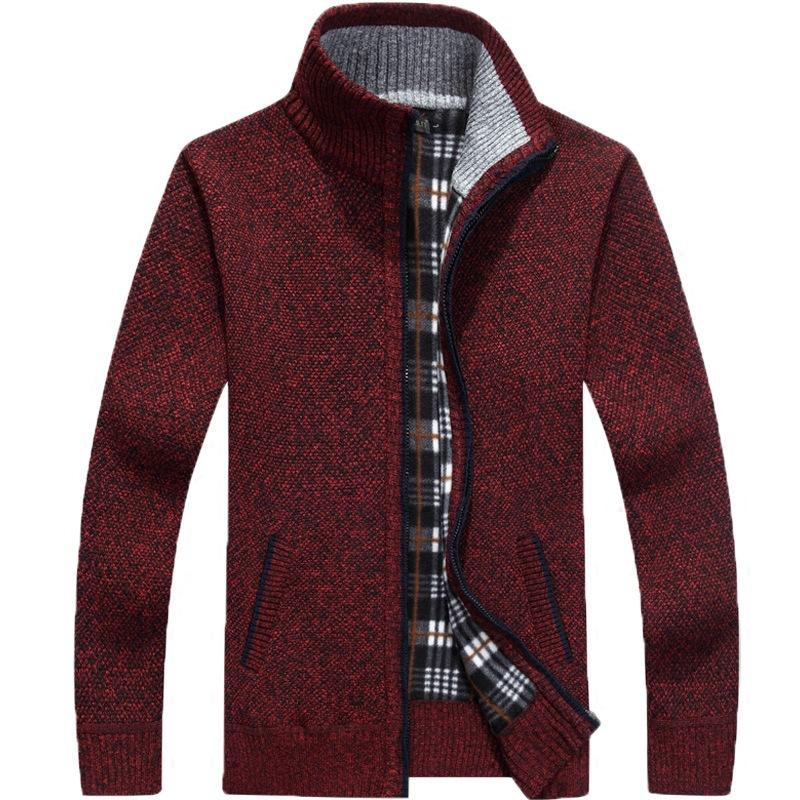 2020 Stand Collar Casual Zipper Knitwear Sweater Men's fashion Casual Autumn Winter men Knit Sweater Coat pullover coat