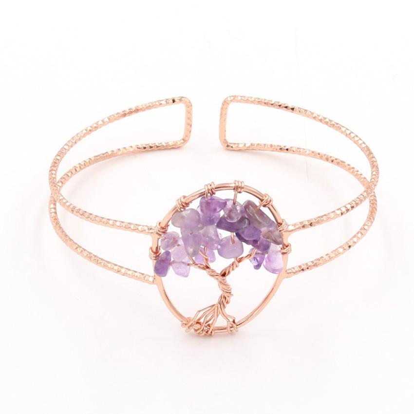 10 pezzi albero della vita Ametista Pietra Aperto braccialetto per il regalo Red Corniola oro rosa placcato Jewelr