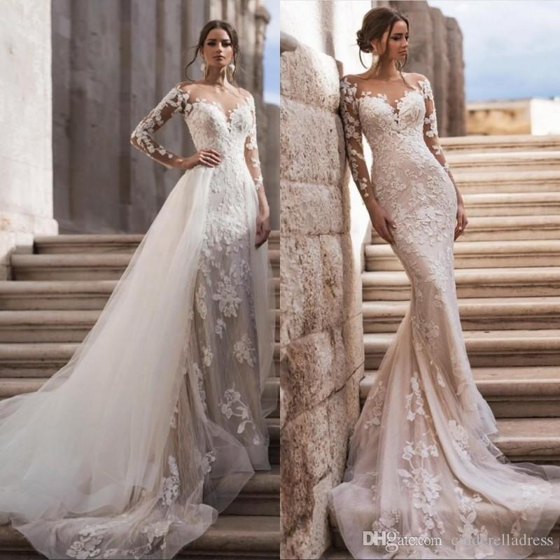 2020 Sexy Sheer Neck Long Sleeves Lace Mermaid Wedding Dresses With Detachable Skirt Tulle Applique Sweep Train Bridal Gowns robes de mariée