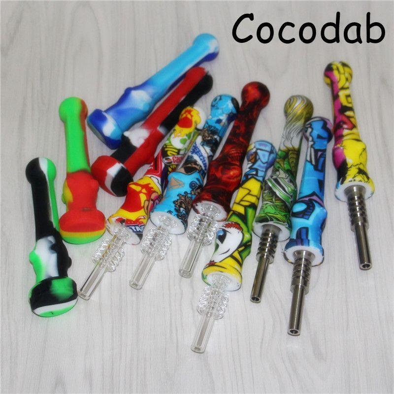 5pcs silicone Nectar Collettori con 14mm Tianium Tip Food Grade Silicon Mini NC Miele Uccello Dab paglia di silicone tubo di olio Rigs