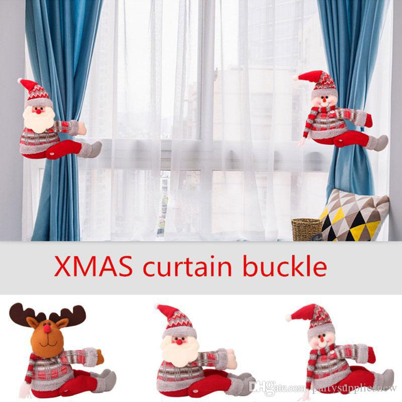 Natale Tenda fibbia Holder Clip Tieback Display Window Soggiorno Xmas Babbo Natale Cervi Decorazioni Regali 3 Stili