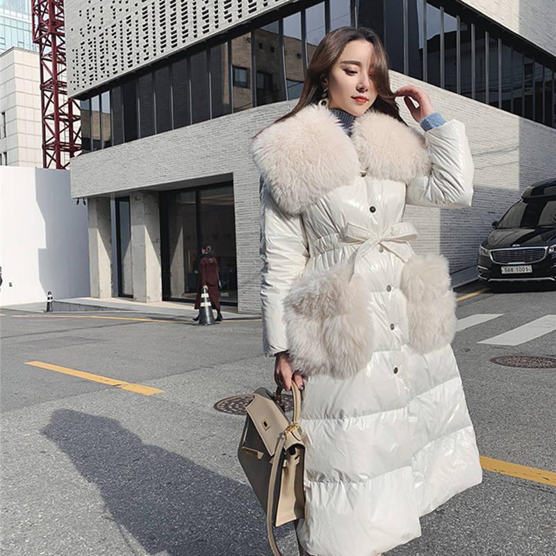 Parlak Renk Kış Ceket Kadınlar Kemer Kalınlaşmak Parkas Kürk Yaka Sıcak Aşağı Pamuk Kış Coat Uzun Parka Casacas Para Mujer C5771