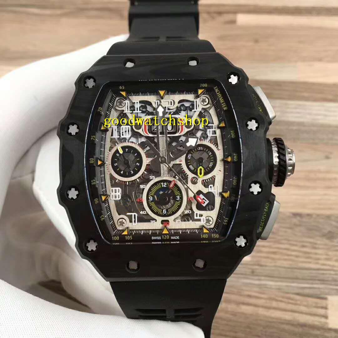 RM11-03 Guarda Tonneau uomo Orologi Sport Watch Swiss Automatic Chronograph 28800 VPH Flyback Big Data in fibra di carbonio della cassa del cristallo di zaffiro