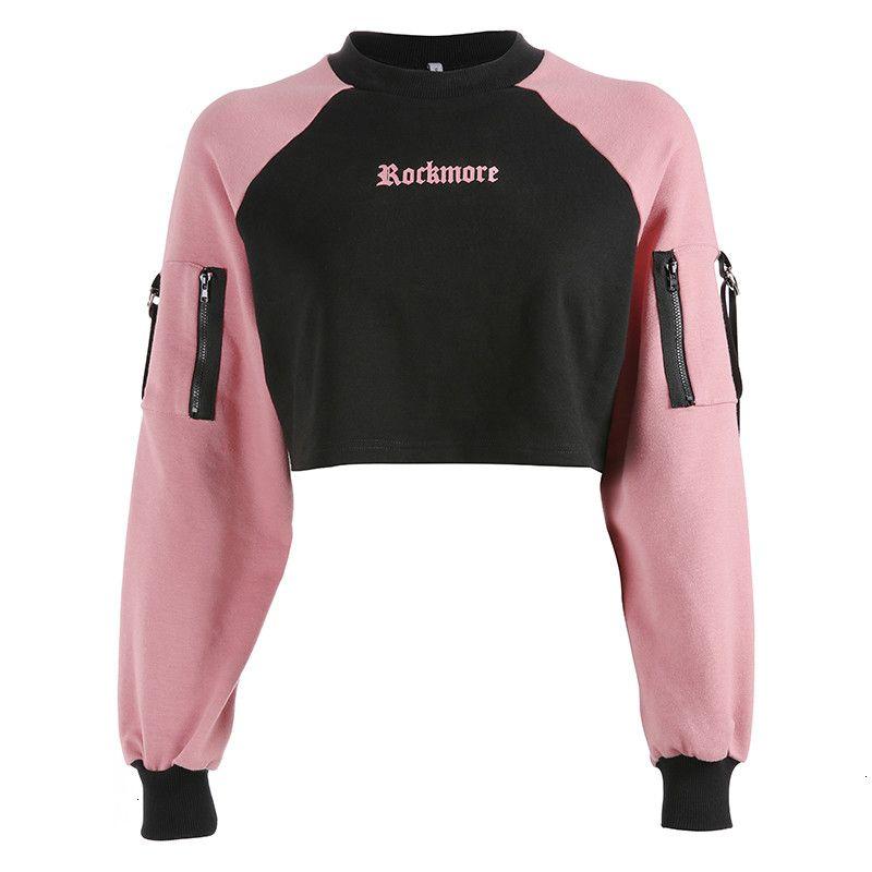 Para mujer ropa de diseño sudaderas remiendo de las mujeres de impresión de letras sudaderas recortada Streetwear de manga larga con capucha rosa Sudadera con capucha floja