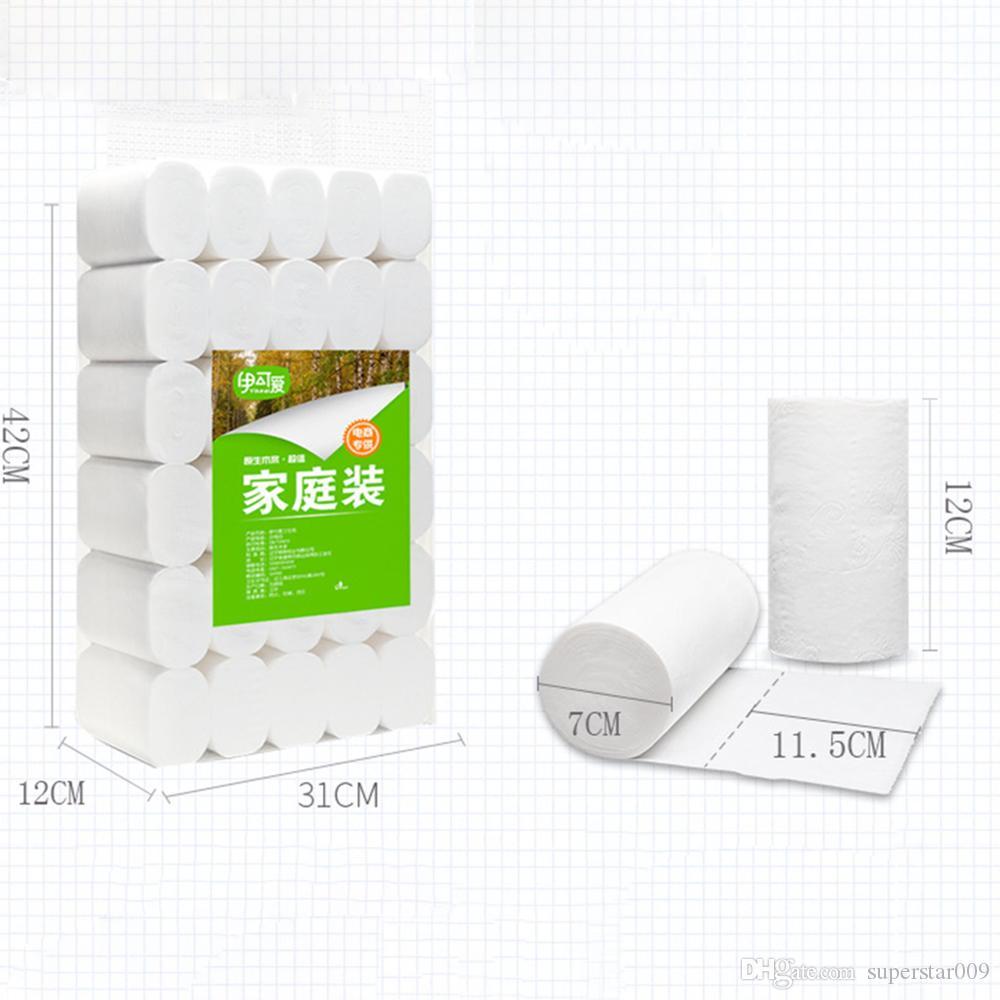 DHL gemi 4 katmanlı ahşap Tuvalet rulo kağıt tek kullanımlık El doku Banyo Mutfak kağıt havlu ev temizlik Peçeteler çapı 7 cm