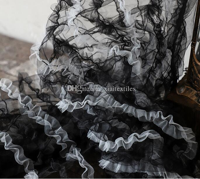 Black Three-dimensional leaves hollow mesh perspective lace dress fabric pattern embroidery patch wedding tweed diy mannequin fabric A003