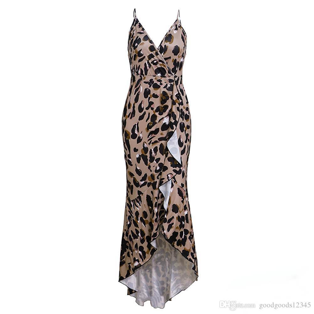 65efa572da6c ... Designer Women Clothes 2019 Summer Leopard Print Women Mini Ruffled Dress  Sexy Spaghetti Strap V Neck ...