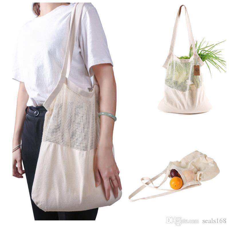 Многоразовые String хозяйственная сумка Фруктовые овощи Эко продуктовый мешок Портативная сумка для хранения Shopper Tote Mesh Чистые тканые сумки для хранения хлопка HH9-2409