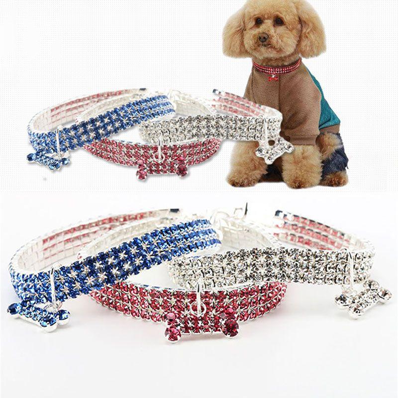 개 목걸이 크리스탈 라인 석 애완 동물 개 고양이 목걸이 강아지 목걸이 개 목걸이 가죽 끈 다이아몬드 보석 크리스마스 선물 WX9-1755