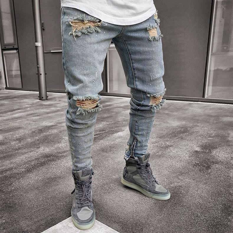 Denim Blue Ripped Designer Jeans Herren Bekleidung drapierte Slim Fit Holes Reißverschluss-Bleistift-Hosen Hombes Pantalones