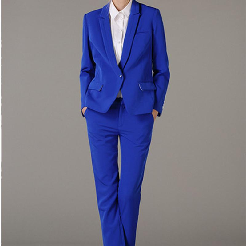 Ladies terno azul lapela Ladies Negócios Set Personalizado Royal Estilo Set Custom Made
