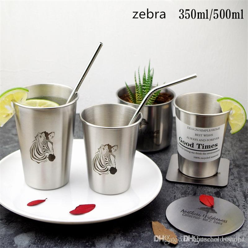 350ml 500ml Stainless Steel tumblers INS style Toothbrush Couple Cup single layer beer tumbler Simple Industrial Flamingo Cold Water mugs