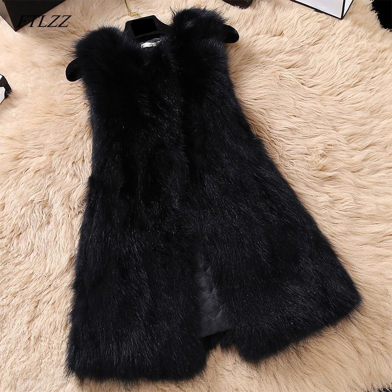 Casual FTLZZ natural del mapache chaleco de piel de las mujeres más el tamaño de chalecos Medio Largo genuino Abrigo de piel Gilet real