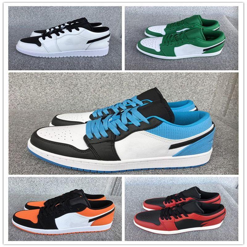 2020 nuevas Baja 1 del equipo universitario zapatos casuales zapatillas de baloncesto del mens rojo / azul / tamaño / naranja / blanco de alta calidad 36-46 verde