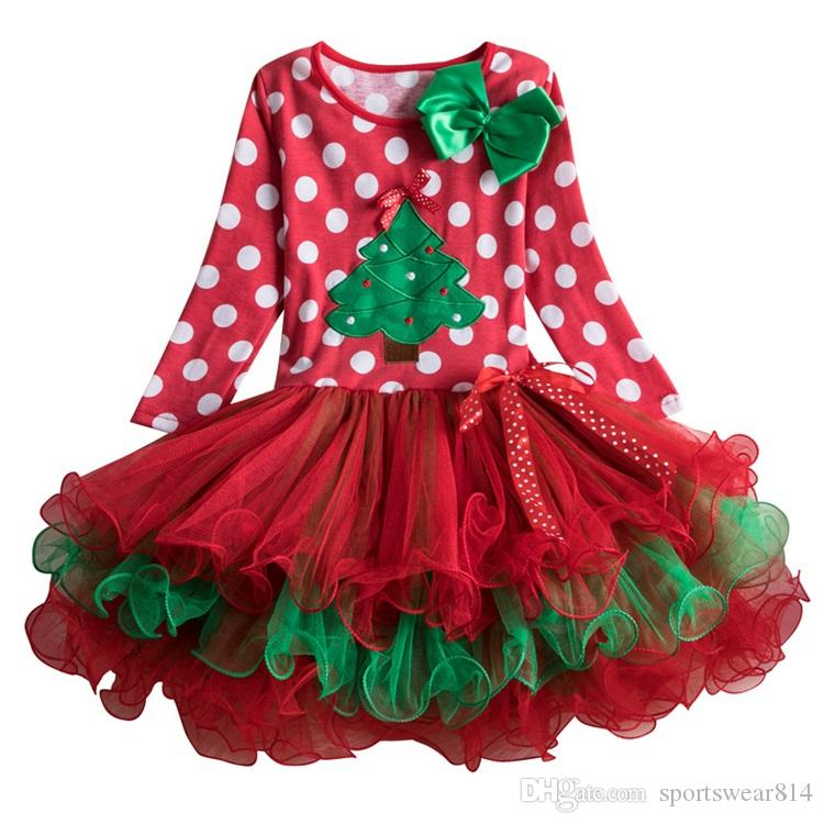 Neonate del vestito dai vestiti di Natale per i bambini di inverno Dot vestiti rossi tutu del vestito da manica carino pieno per 2-6 anni le ragazze