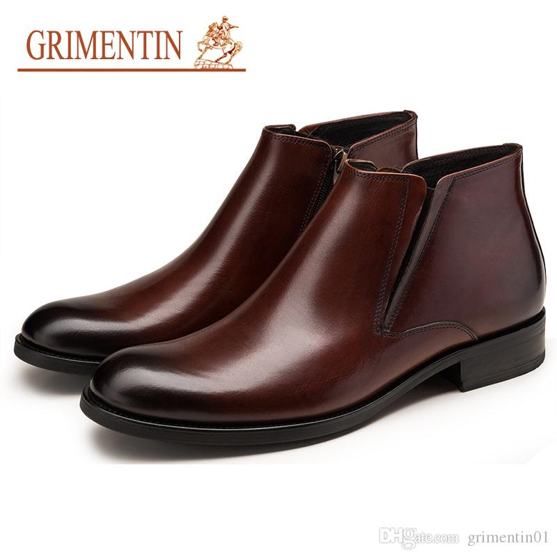GRIMENTIN 2020 Newest hot sale brand fashion mens boots genuine leather black brown formal business casual men dress shoes ankle male boots