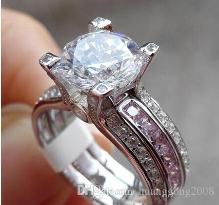 Feine neue Art und Weise Schmuck 10KT weißes Gold füllte Roud Cut rosa Saphir-Hochzeits-Verpflichtungs-Frauen-Ring-Geschenk.