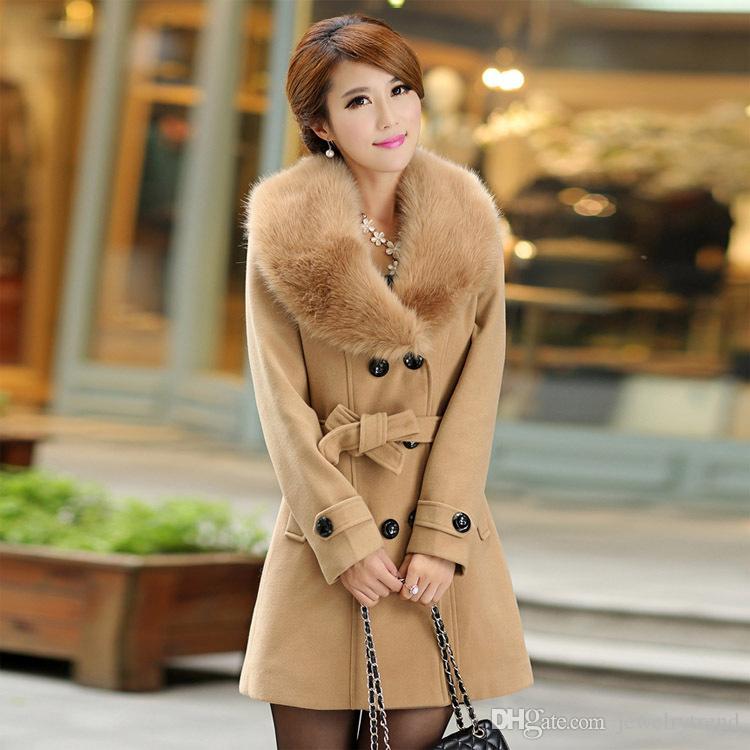 Plus Size Nouvelle Automne Femme Laine Manteau Longueur Moyen Manteaux Faux col de fourrure de femmes à double boutonnage Pardessus 7 couleurs C4009