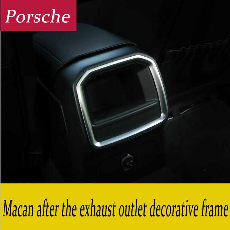 Car Styling Apoyabrazos Caja de Aire acondicionado trasero bastidor de salida decoración calcomanía etiqueta Vents Recortar Volver a montar la cubierta interior 3D para Porsche Macan
