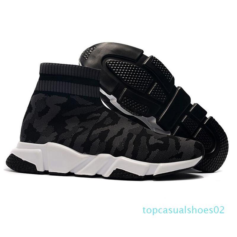 Günstige Plattform Speed Trainer Mens-Frauen-Socken-Schuhe Schwarz Weiß Rot Männer Frauen Top-Qualität Mode-Luxusdesigner Turnschuhe beiläufige 36-47 T02