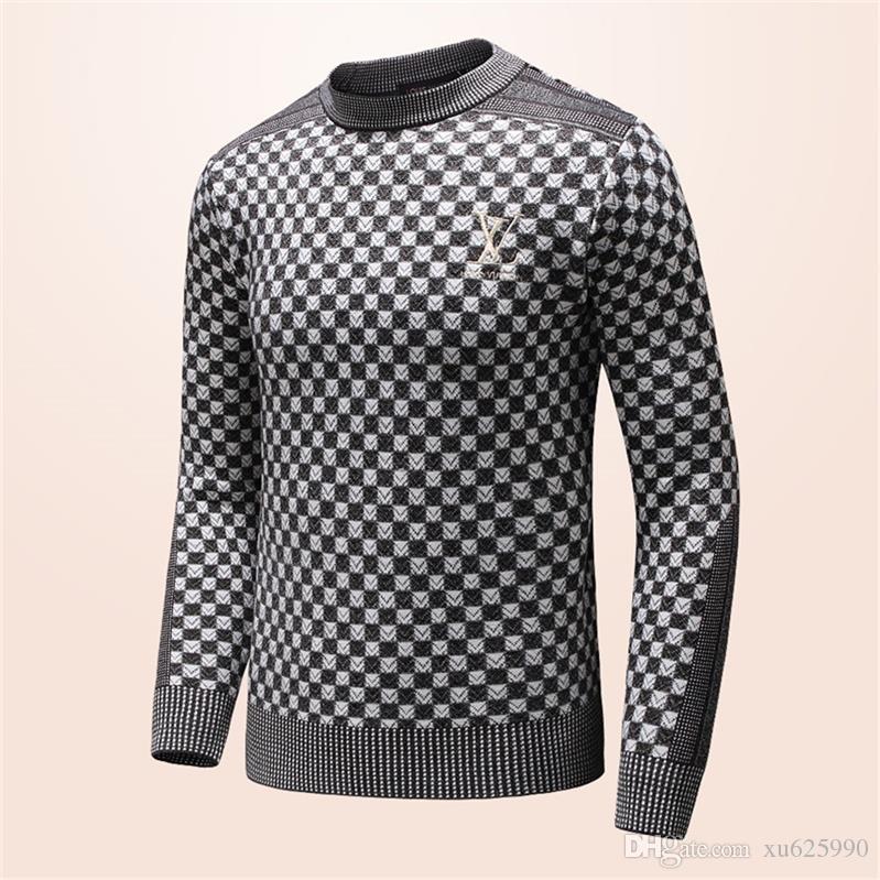 2019 neue Herbst-Mode-Marke beiläufige Strickjacke O-Ansatz kühlen Wolf Gestreiftes Slim Fit Knitting Männer Pullover und Pullover Männer Pullover Men # 019