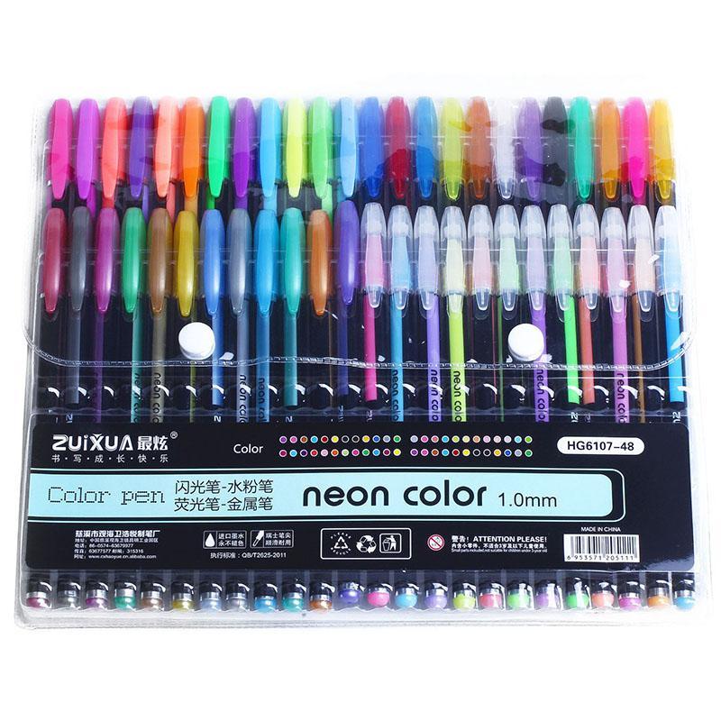 ضبط 48 جل أقلام اللون أقلام هلام هدية بريق معدني جيد للتلوين، أطفال، انطباعات، الرسم، الرسم
