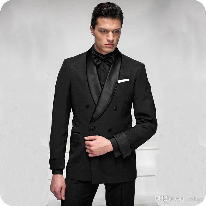 İtalya Siyah Damat Düğün Erkekler Smokin Çift Breasted Groomsmen giysileri Ternos Slim Fit Man Ceket 2piece Man Blazer Kostüm Homme giyisi
