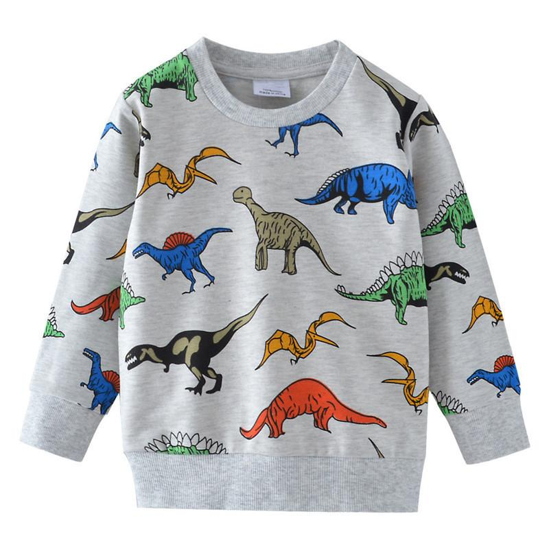 Jumping Meters Kids Dinosaurs Sweatshirts Cotton Winter Autumn Baby Boys Girls T Shirts All Printed Animals T Shirts For Boy Kid Y190518