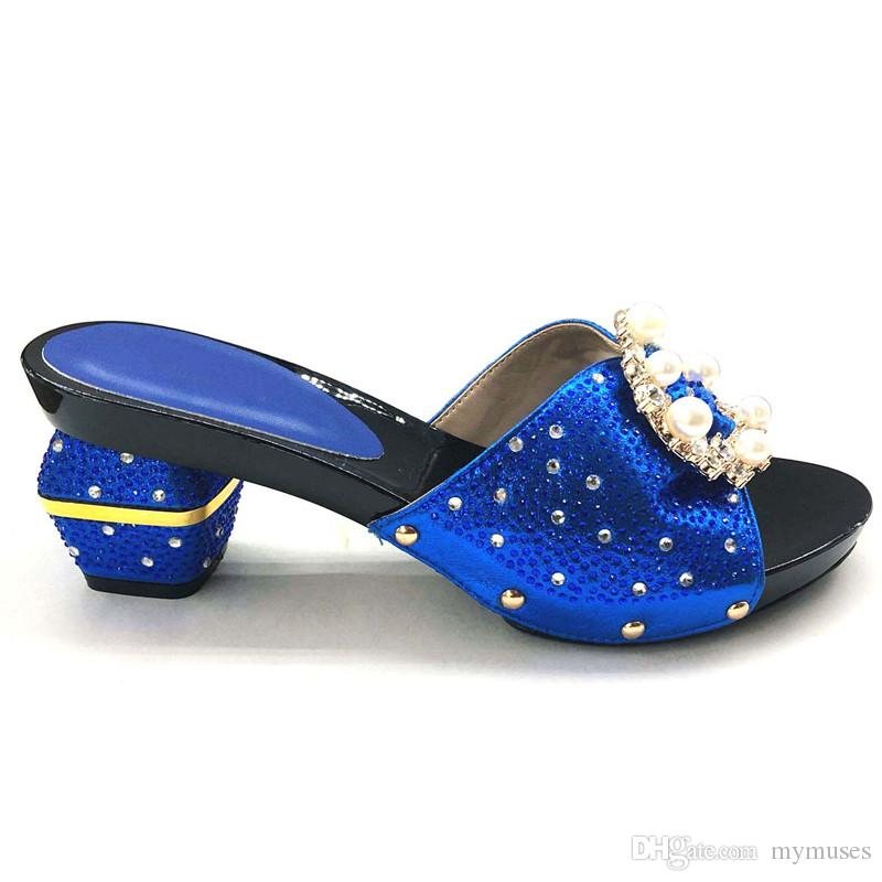 2018 New Italian Ladies Sexy High Heels Pumps Royal Blue Rhinestones Design Ladies Women Pumps African Sandal Shoes for Parties