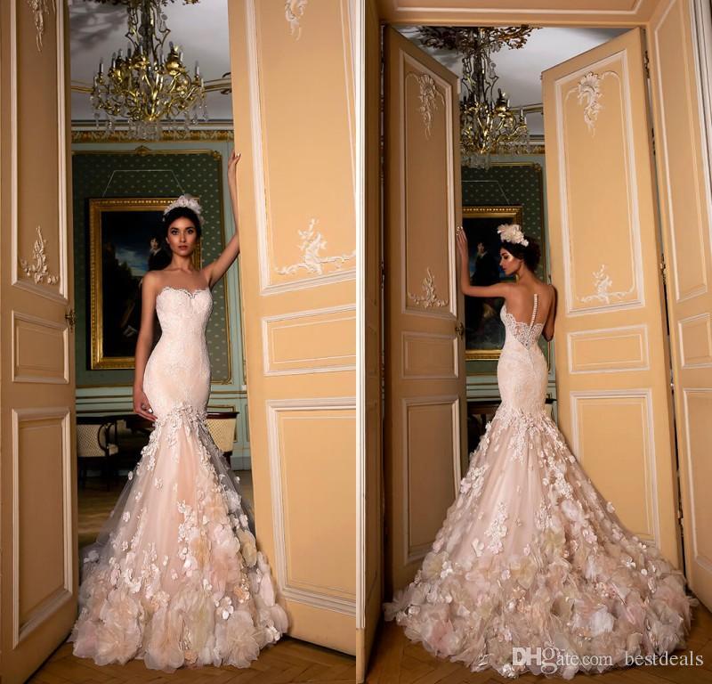 2019 Exquisitos vestidos de novia con forma de sirena con forma de champán Pura longitud del piso Flores hechas a mano Botón Volver Encajes Vestidos de novia