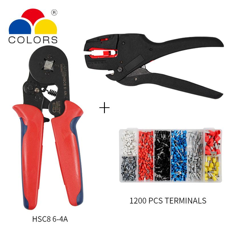 crimping pliers hsc8 6-4 alicate wire stripper cable cutter alicates crimper hand tools multi krimptang 1200pcs tube terminal Y200321